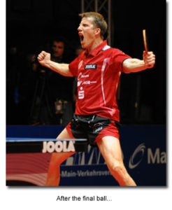 Jorg Rosskopf celebration after his final point of his professional career.