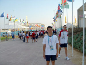 Khoa at the Olympic Village in Athens.