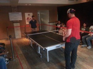 Green Bay Packers & Milwaukee Brewers Play Ping Pong For Charity