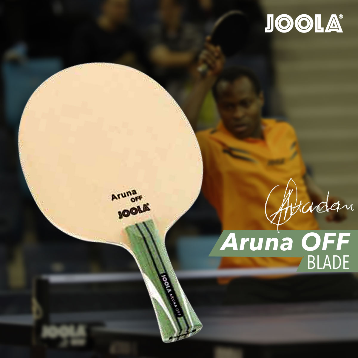 The JOOLA Aruna off, Matt Hetherington's table tennis blade of choice