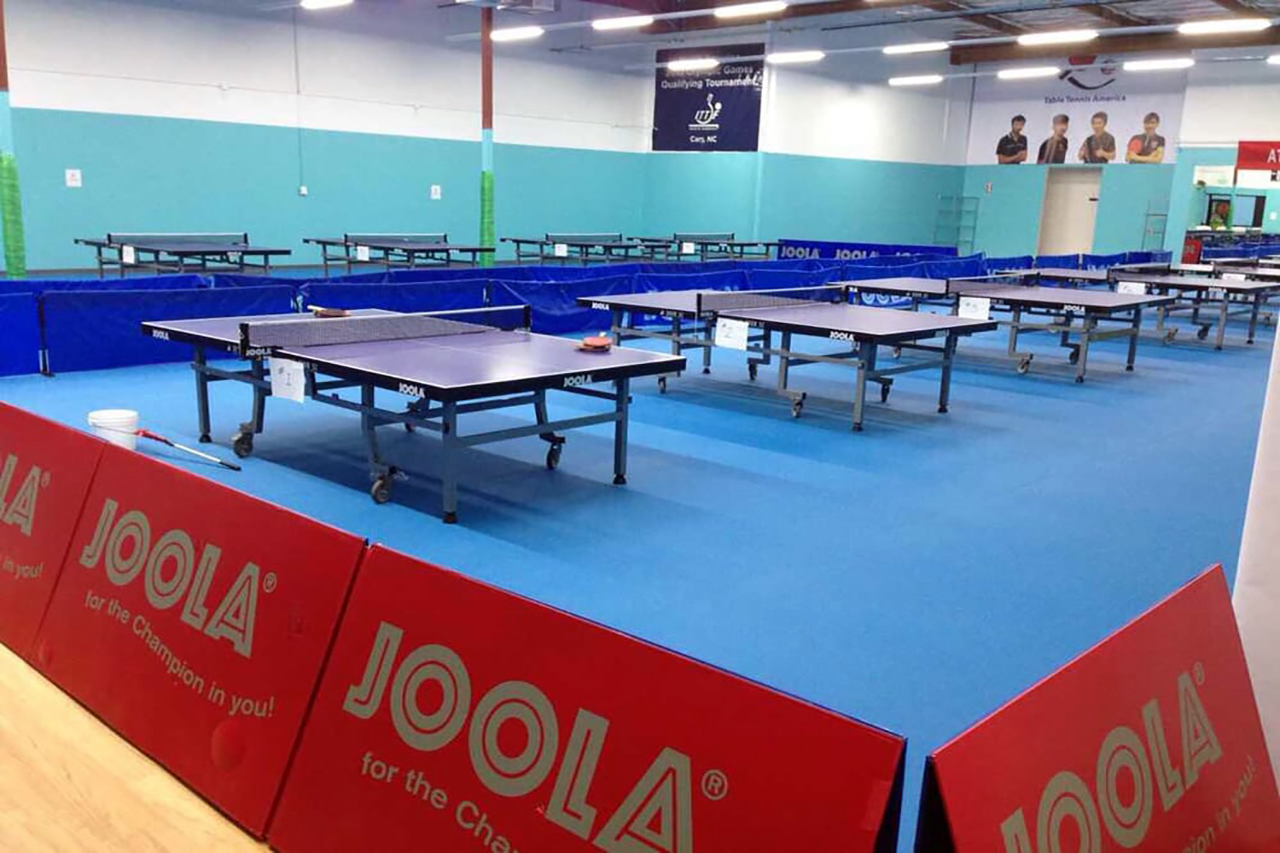 JOOLA tables and barriers set up in Table Tennis America